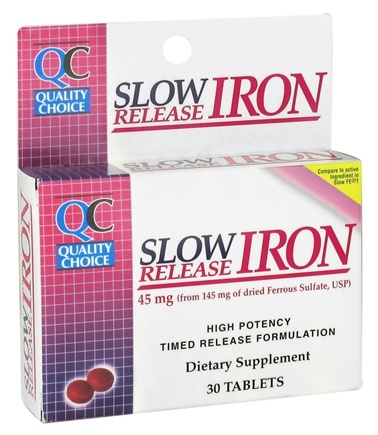 DROPPED: Quality Choice - Slow Release Iron 45 mg. - 30 Tablets