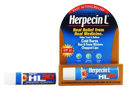 Herpecin L - HL30 Lip Protectant/Cold Sore & Sunscreen Lip Balm Stick 30 SPF - 0.1 oz.