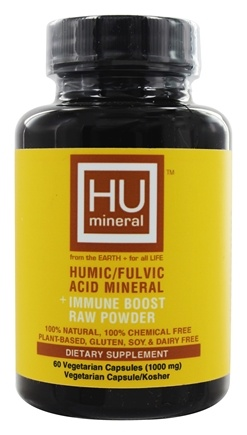 HUmineral - Humic/Fulvic Acid Mineral + Immune Boost Raw Powder - 60 Vegetarian Capsules