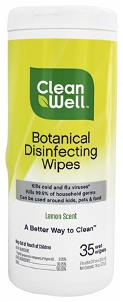 CleanWell - Botanical Disinfecting Wipes Lemon Scent - 35 Wipe(s)