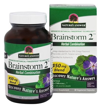 DROPPED: Nature's Answer - Brainstorm2 Mental Clarity Blend - 90 Vegetarian Capsules CLEARANCE PRICED