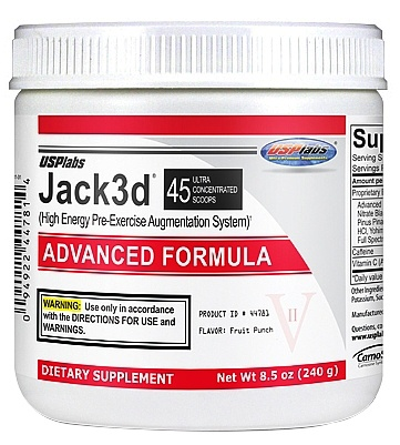 DROPPED: USP Labs - Jack3d Advanced Formula Fruit Punch 45 Servings - 230 Grams