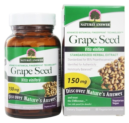 Nature's Answer - Grape Seed 95% OPC's Extract - 60 Vegetarian Capsules
