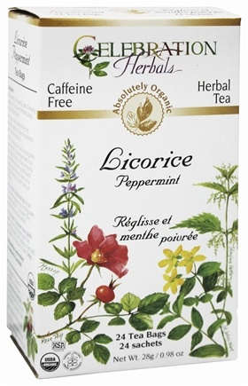Celebration Herbals - Organic Caffeine Free Licorice Peppermint - 24 Tea Bags