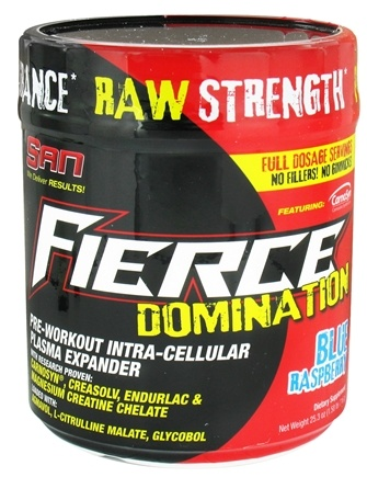 DROPPED: SAN Nutrition - Fierce Domination Pre-Workout Intra-Cellular Plasma Expander Blue Raspberry 40 Servings - 716 Grams CLEARANCE PRICED