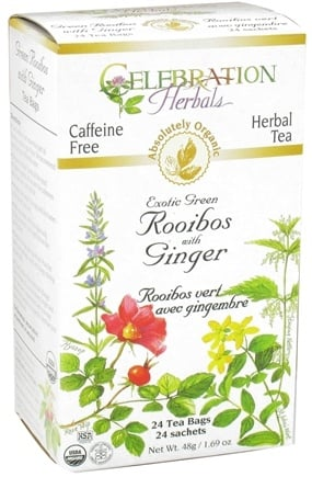 DROPPED: Celebration Herbals - Organic Caffeine Free Exotic Green Rooibos with Ginger Herbal Tea - 24 Tea Bags CLEARANCE PRICED