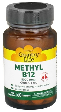 DROPPED: Country Life - Methyl B12 Cherry Flavor 5000 mcg. - 60 Lozenges CLEARANCE PRICED