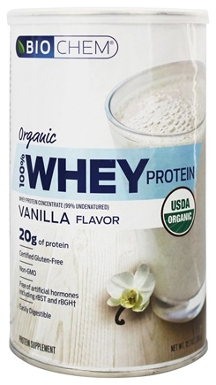 Country Life - Biochem Organic 100% Whey Protein Powder Vanilla Flavor - 12.7 oz.