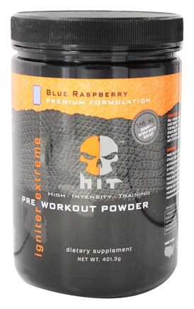 DROPPED: HIT Supplements - Igniter Extreme Pre Workout Powder Blue Raspberry 25 Servings - 401.3 Grams CLEARANCE PRICED