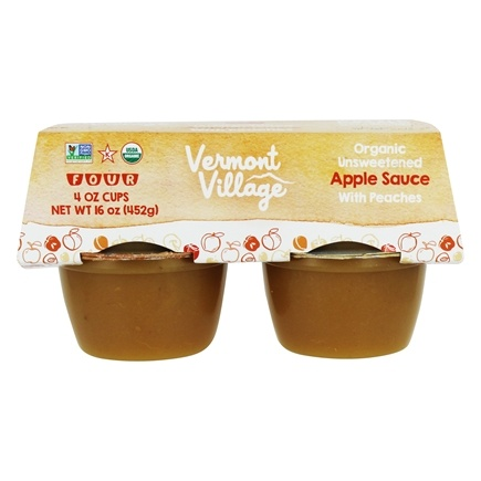 DROPPED: Vermont Village - Organic Applesauce Peach - 4 x 4 oz. Cups CLEARANCE PRICED