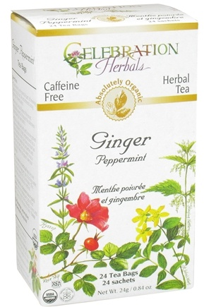 DROPPED: Celebration Herbals - Organic Caffeine Free Ginger Peppermint Herbal Tea - 24 Tea Bags CLEARANCE PRICED