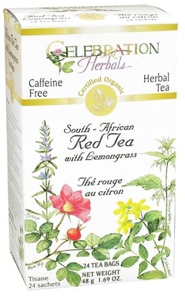 DROPPED: Celebration Herbals - Organic Caffeine Free South-African Red Tea with Lemongrass Herbal Tea - 24 Tea Bags CLEARANCE PRICED