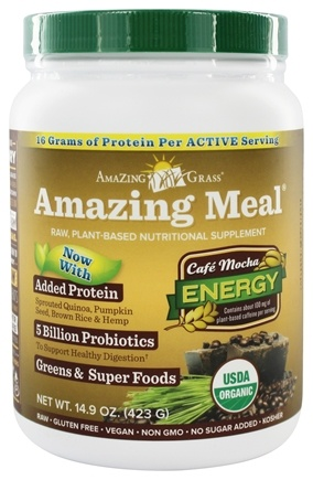 Amazing Grass - Amazing Meal Powder 15 Servings Cafe Mocha - 14.1 oz.