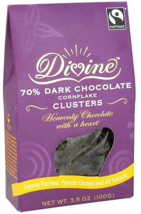 DROPPED: Divine - 70% Dark Chocolate Cornflake Clusters - 3.5 oz. CLEARANCE PRICED