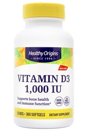 Healthy Origins - Vitamin D3 1000 IU - 360 Softgels