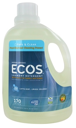 Earth Friendly - ECOS 2X Ultra All Natural Laundry Detergent Free & Clear - 170 oz.