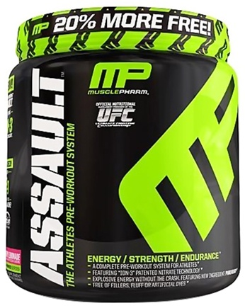 DROPPED: Muscle Pharm - Assault Athletes Pre-Workout System Bonus Size Raspberry Lemonade - 1.15 lbs.