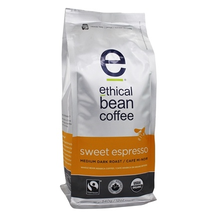 DROPPED: Ethical Bean Coffee - Organic Medium Dark Roast Whole Bean Sweet Espresso - 12 oz. CLEARANCE PRICED