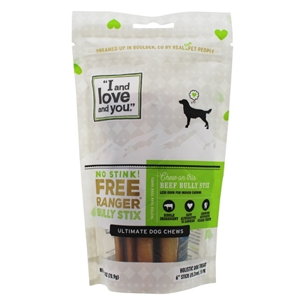 I And Love And You - No Stink Free Ranger Bully Stix Dog Chews 6 inch - 5 Pack