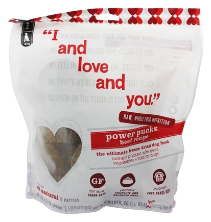 DROPPED: I And Love And You - Power Pucks Freeze Dried Dog Food Beef Recipe - 12 Patties - 12 Pack CLEARANCE PRICED