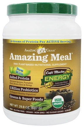 Amazing Grass - Amazing Meal Powder 30 Servings Cafe Mocha - 28.3 oz.