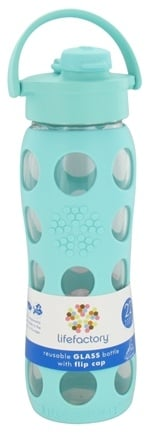 Lifefactory - Glass Beverage Bottle With Silicone Sleeve and Flip Top Cap Turquoise - 22 oz.