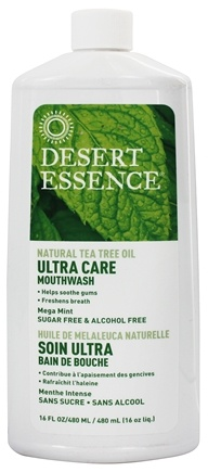 Desert Essence - Natural Tea Tree Oil Ultra Care Mouthwash Mega Mint - 16 oz. LUCKY PRICE