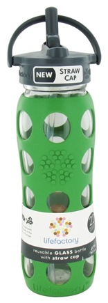 Lifefactory - Glass Beverage Bottle With Silicone Sleeve and Straw Cap Grass Green - 22 oz.