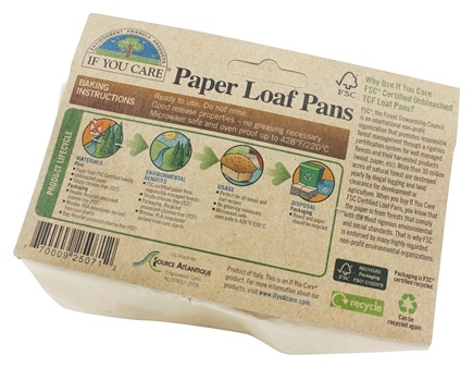 DROPPED: If You Care - Paper Loaf Pans Unbleached Totally Chlorine-Free (TCF) - 4 Pans