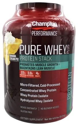 Champion Performance - Pure Whey Plus Protein Stack Banana Cream Pie - 4.8 lbs.