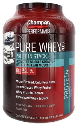 Champion Performance - Pure Whey Plus Protein Stack Cookies & Cream - 4.8 lbs.