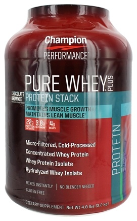 Champion Performance - Pure Whey Plus Protein Stack Chocolate Brownie - 4.8 lbs.