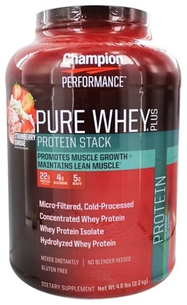 Champion Performance - Pure Whey Plus Protein Stack Strawberry Sundae - 4.8 lbs.