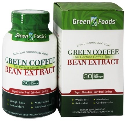 DROPPED: Green Foods - Green Coffee Bean Extract - 60 Vegetarian Capsules CLEARANCE PRICED