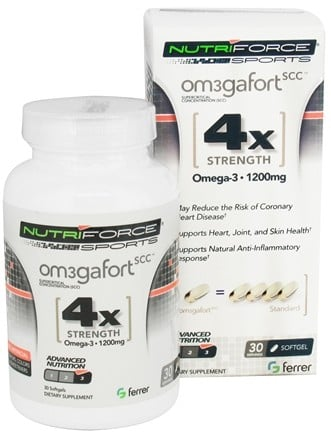 DROPPED: NutriForce Sports - Omegafort SCC Fish Oil Omega-3 4X Strength 1200 mg. - 30 Softgels CLEARANCE PRICED