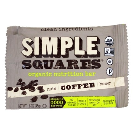 Simple Squares - Organic Gluten-Free Nuts & Honey Nutrition Bar Coffee - 1.6 oz. LUCKY PRICE