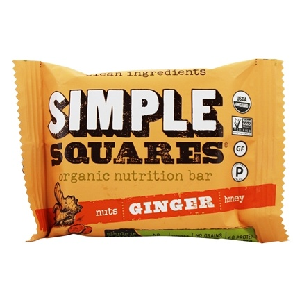 Simple Squares - Organic Gluten-Free Nuts & Honey Nutrition Bar Ginger - 1.6 oz. LUCKY PRICE