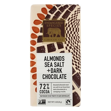 Endangered Species - Dark Chocolate Bar with Sea Salt & Almonds 72% Cocao - 3 oz.