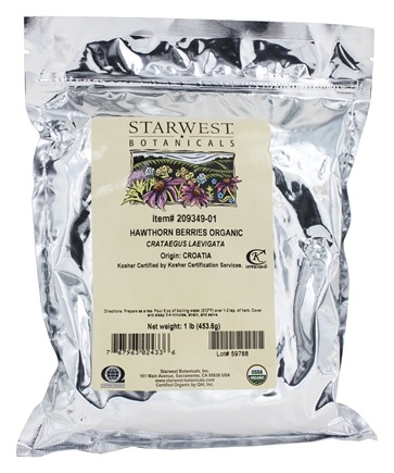 Starwest Botanicals - Bulk Hawthorn Berries Whole Organic - 1 lb.