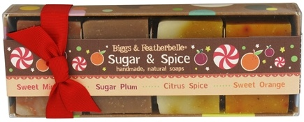 DROPPED: Biggs & Featherbelle - Handmade Natural Soap Set Holiday Edition Sugar & Spice - 4 x 1.75 oz. Bar Soaps CLEARANCED PRICED
