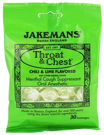DROPPED: Jakemans - Throat & Chest Menthol Cough Suppressant Lozenges Chili & Lime - 30 Lozenges