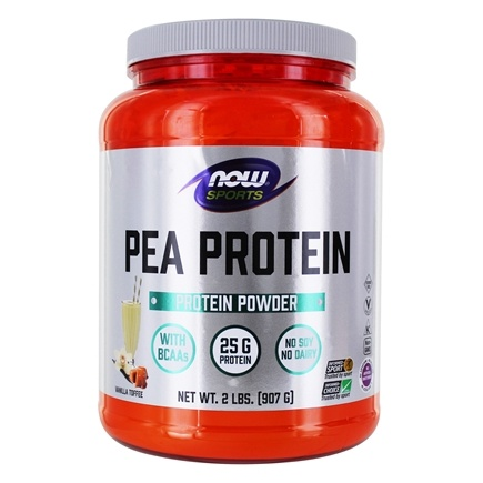 NOW Foods - Pea Protein 100% Pure Non-GMO Vegetable Protein Vanilla Toffee - 2 lbs.