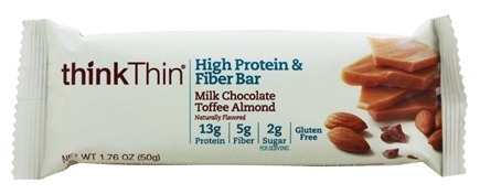 Think Products - thinkThin High Protein Fiber Bar Milk Chocolate Toffee Almond - 1.76 oz.
