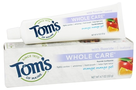 Tom's of Maine - Natural Toothpaste Whole Care With Fluoride Orange Mango Gel - 4.7 oz.