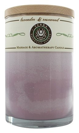 Terra Essential Scents - Massage & Aromatherapy Soy Candle Lavender & Rosewood - 12 oz.