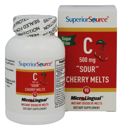 Superior Source - Vitamin C Sour Cherry Melts Instant Dissolve 500 mg. - 90 Tablets