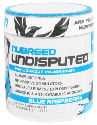 Nubreed Nutrition - Undisputed Pre Workout Powerhouse Blue Raspberry - 11.28 oz.