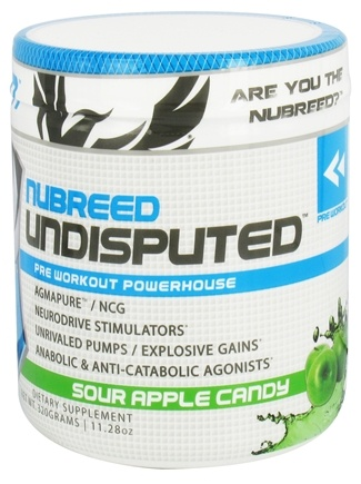 DROPPED: Nubreed Nutrition - DO NOT PUBLISH Undisputed Pre Workout Powerhouse Sour Apple Candy - 11.28 oz. CLEARANCE PRICED