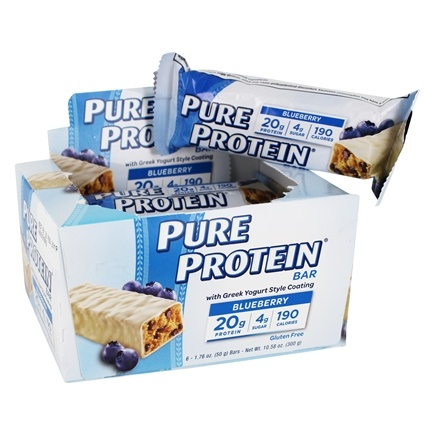 Pure Protein - High Protein Bar with Greek Yogurt Style Coating Blueberry - 6 x 1.76 oz. Bars