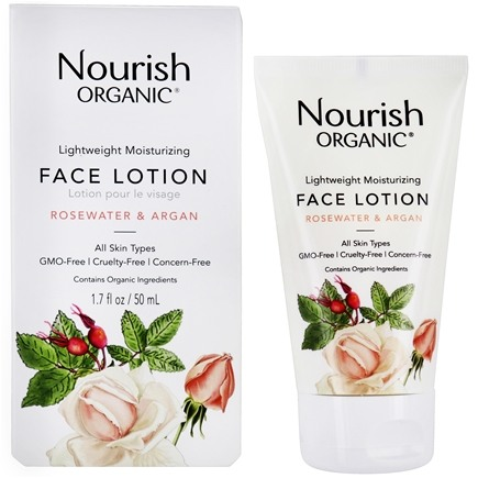 Nourish - Organic Lightweight Moisturizing Face Lotion Argan + Rosewater - 1.7 oz.